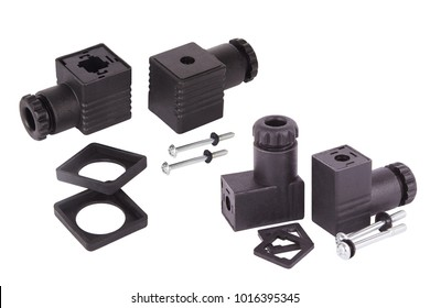 Connectors for solenoid valve and water meter. Spare parts for professional coffeee machines. Isolated. Barista equipment
