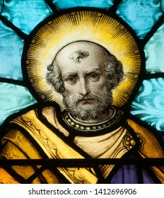 Connellsville, Pennsylvania/ United States - May 21, 2019: Stained glass window depicting closeup of the Apostle St. Peter in Church of the Immaculate Conception