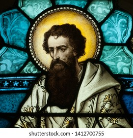 Connellsville, Pennsylvania/United States - May 31, 2019: Stained glass window of St. Paul the Apostle in Church of the Immaculate Conception