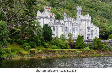 Connemara, County Galway / Ireland - August 12 2018: Kylemore Abbey is an Irish landmark having been founded by nuns fleeing Belgium during World War One