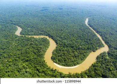 The Cononaco river in the Ecuadorian Amazon from the air