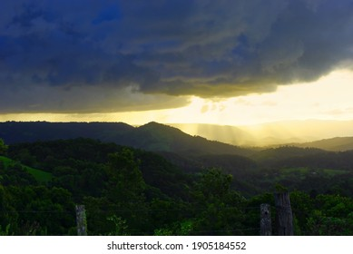 Conondale Sunset contrasts of light and dark