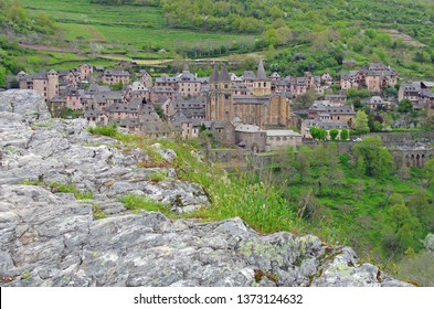 Conques, famous medieval city. Aveyron, france