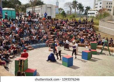 Conselheiro Lafaiete state Minas Gerais Brazil july 22 2018 .Street theater group performing at theater festival various street theater artists