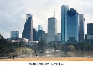 The consequences of the spill Buffalo Bayou River in Houston. Flooded park on Downtown city background