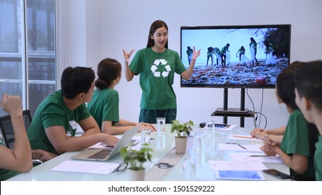 Conservation concept. Employees of the company are presenting the benefits for the public