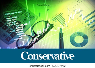 Conservative - Abstract digital information to represent Business&Financial as concept. The word Conservative is a part of stock market vocabulary in stock photo