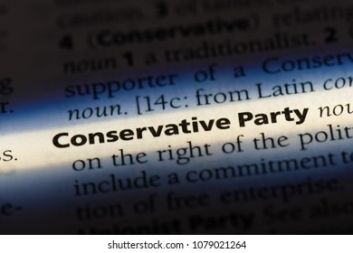 conservative party word in a dictionary. conservative party concept
