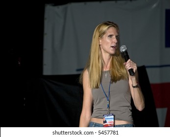 Conservative personality and author Ann Coulter on stage at the Sean Hannity Freedom Concert on 9 11 07 at Great Adventure in New Jersey.