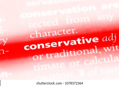 conservative word in a dictionary. conservative concept