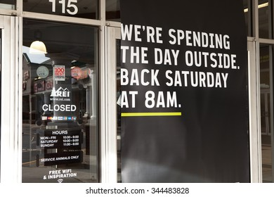 CONSHOHOCKEN, PA - NOV 27: REI stores throughout the United States closed for Black Friday. This window sign notifies would be shoppers the store is closed on November 27, 2015 in Conshohocken, PA.