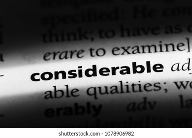 considerable word in a dictionary. considerable concept