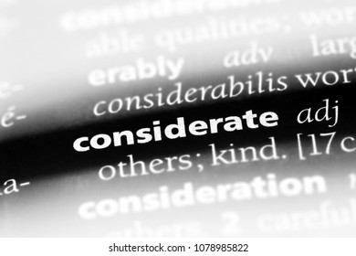 considerate word in a dictionary. considerate concept
