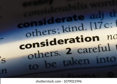 consideration word in a dictionary. consideration concept