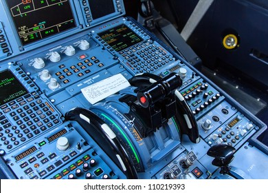 Console of a cockpit with its instruments