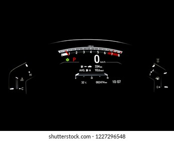 Console Display of Luxury car in the dark