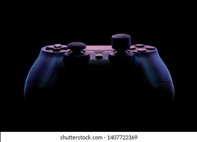 Console gamepad, game controller on black background, under specially designed pink and purple lighting. Close up studio shot