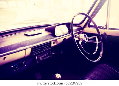 Console inside old car vintage style
