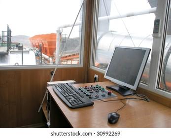 Console operator office of a bitumastic macadam mixing modular plant