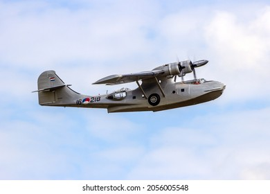 Consolidated PBY Catalina in Dutch Navy colors flying at the Royal Netherlands Air Force Days in Gilze-Rijen. The Netherlands - June 20, 2014