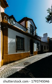 Constancia, Portugal - July 30, 2020: Limestone cozy yellow and white houses at Constancia in the Santarem District of Portugal.