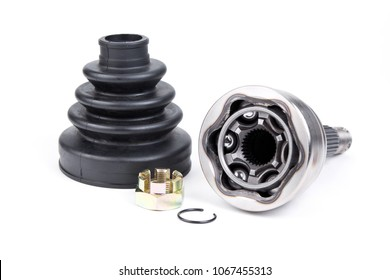 Constant velocity joint with boot and lock nut on white background.Auto parts kit