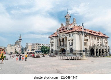 Constanta/ Romania - 07.14.2018: This the view on the street and houses in Constanta city in Romania. This is the main city in Romania with access to the Black sea.