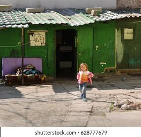 CONSTANTA, ROMANIA - APRIL 22, 2017. Documentary. Happiness of the poor children. Constanta city, Romania.