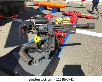 CONSTANTA, ROMANIA - AUGUST 11, 2018: Door mounted machine gun for 330L Puma helicopter for naval missions, exposed on the occasion of Romanian Open Gates in the military harbor.