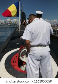 CONSTANTA, ROMANIA - AUGUST 11, 2018: Persons visiting the Romanian Naval Forces kilo-class submarine Delfinul, on the occasion of the Romanian Open Gates Day in the Constanţa military port.