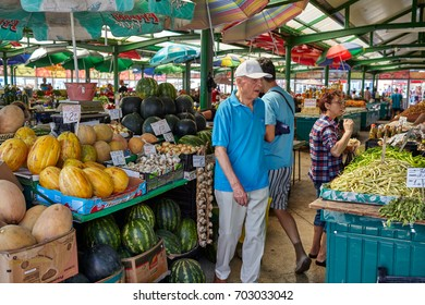 CONSTANTA, ROMANIA - AUGUST 20, 2017:  Grivitei Market on Sunday morning with colorful fruit and vegetables sold by local producers.