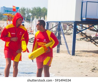 CONSTANTA, ROMANIA - AUGUST 21 2010. lifeguards on the beach
