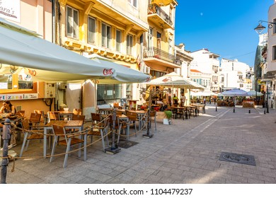 CONSTANTA, ROMANIA - MAY 24, 2018: Old town pedestrian street with restaurants and pubs. Constanta, founded as a colony almost 2600 years ago, is the oldest attested city in Romania.