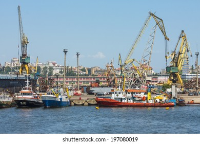 CONSTANTA, ROMANIA - MAY 25, 2014: Shipyard of old commercial port of Constanta, the largest port on the Black Sea and the 18th largest in Europe.