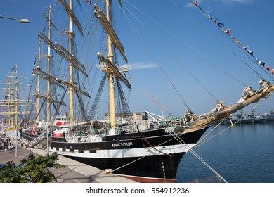 CONSTANTA, ROMANIA - SEPTEMBER 8, 2016: Kruzenshtern sailing vessel from Russian Federation at Black Sea Tall Ships Regatta 2016 in Constanta harbor.