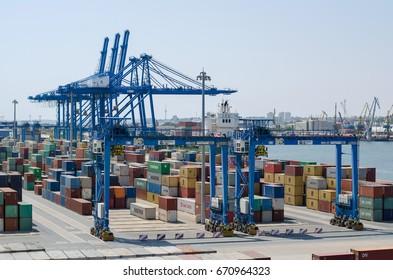 Constanta, Rumania - August 06: Container terminal in port of Constanta on August 06, 2016  in Constanta, Rumania.