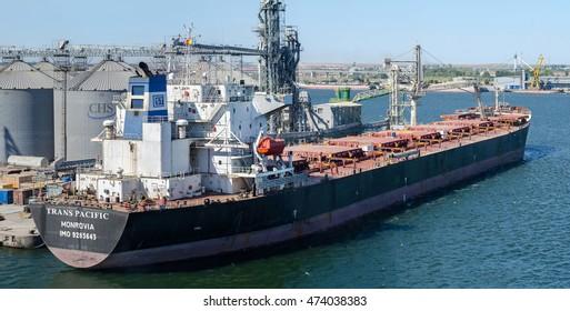 Constanta, Rumania - August 25: Bulk carrier vessel in the port of Constanta on August 25, 2016  in Constanta, Rumania.