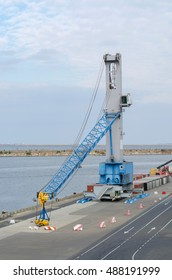 Constanta, Rumania - September 21: Cargo crane with down jib in the port of Constanta on September 21, 2016  in Constanta, Rumania.