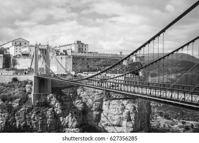 CONSTANTINE, ALGERIA - April 29, 2017: View of Sidi-Mcid bridge, the second highest suspended bridge in the world, Constantine, Algeria