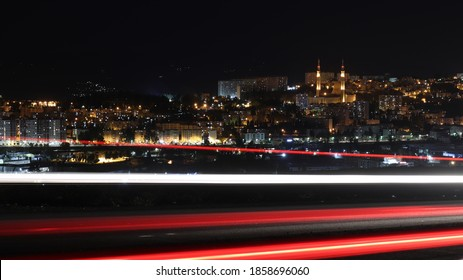 constantine algeria , the city of constantine at night with light trails , night time photography algeria