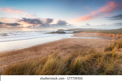Constantine Bay looking towards Booby's Bay and Trevose Head near Padstow on the Atlantic coast of Cornwall