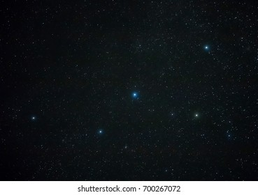 Constellation Cassiopeia in the night dark sky. Looks like a letter - W or M