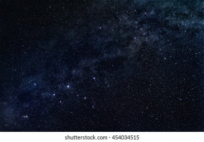 Constellation Cassiopeia with stellar band of our galaxy, the Milky Way, in the dark starry sky. Original astrophotograph without the use of NASA imagery.