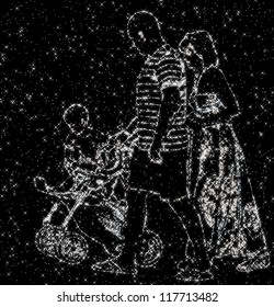 constellation image of family of daddy, mommy and baby