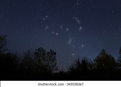 Constellation of Orion in real night sky, The Hunter Real starry night sky