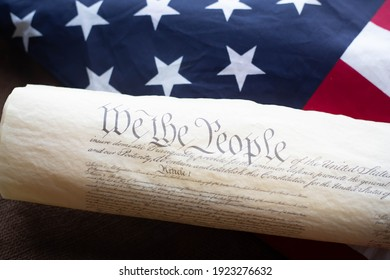 Constition of the USA with US flag