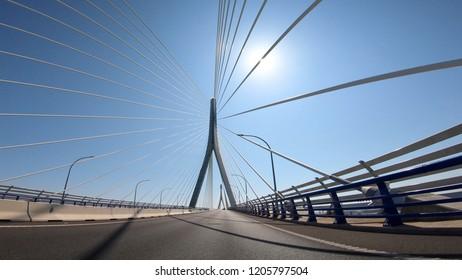 Constitution of 1812 Bridge, also known as La Pepa Bridge POV view in a sunny day. Cadiz, Spain.