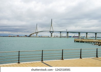 The Constitution of 1812 Bridge or La Pepa Bridge, a cable-stayed bridge across the Bay of Cadiz, linking Cadiz with mainland Spain, as seen from the Paseo Maritimo de Astilleros