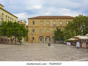 Constitution Square with Archaeological Museum of Nauplion in Nafplio, Greece
