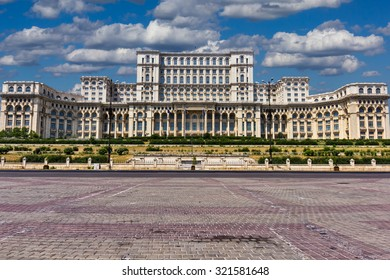 Constitution square with Ceausescu People House in Bucharest Romania